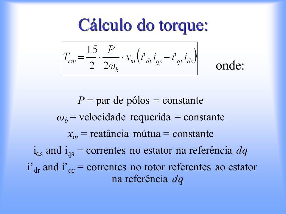 Cálculo do torque: onde: P = par de pólos = constante