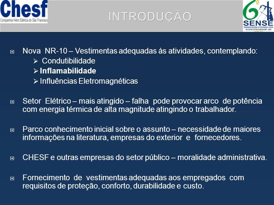 INTRODUÇÃO Nova NR-10 – Vestimentas adequadas às atividades, contemplando: Condutibilidade. Inflamabilidade.