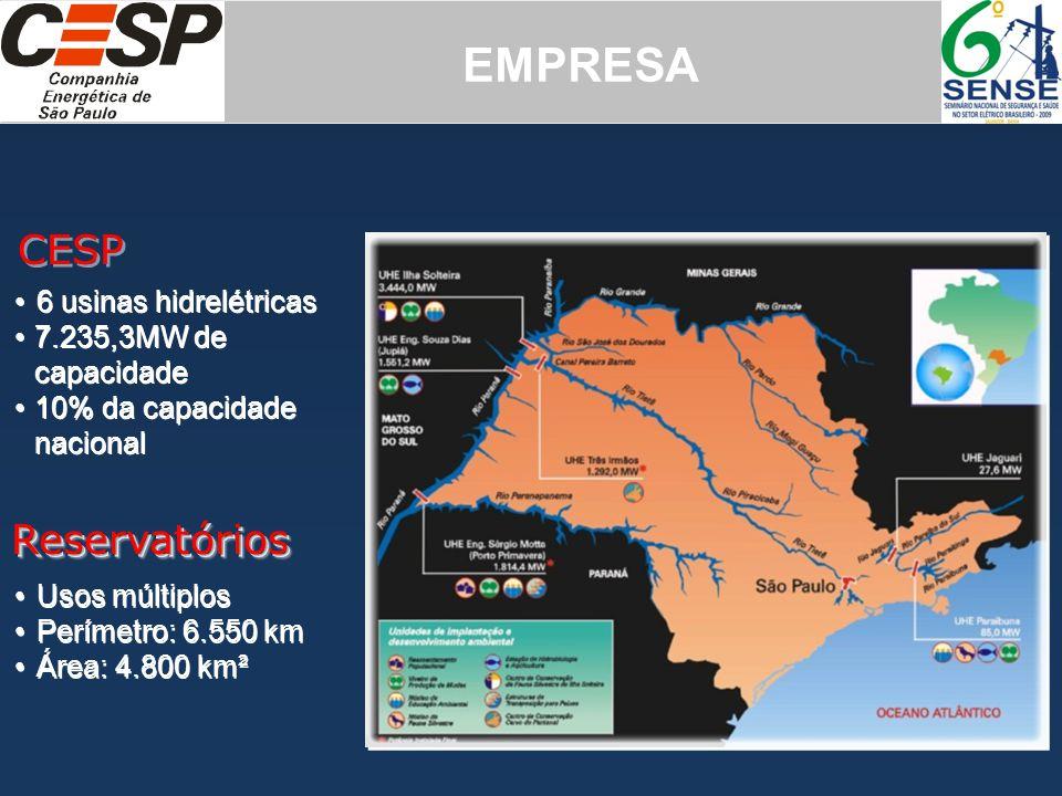 EMPRESA CESP Reservatórios 6 usinas hidrelétricas