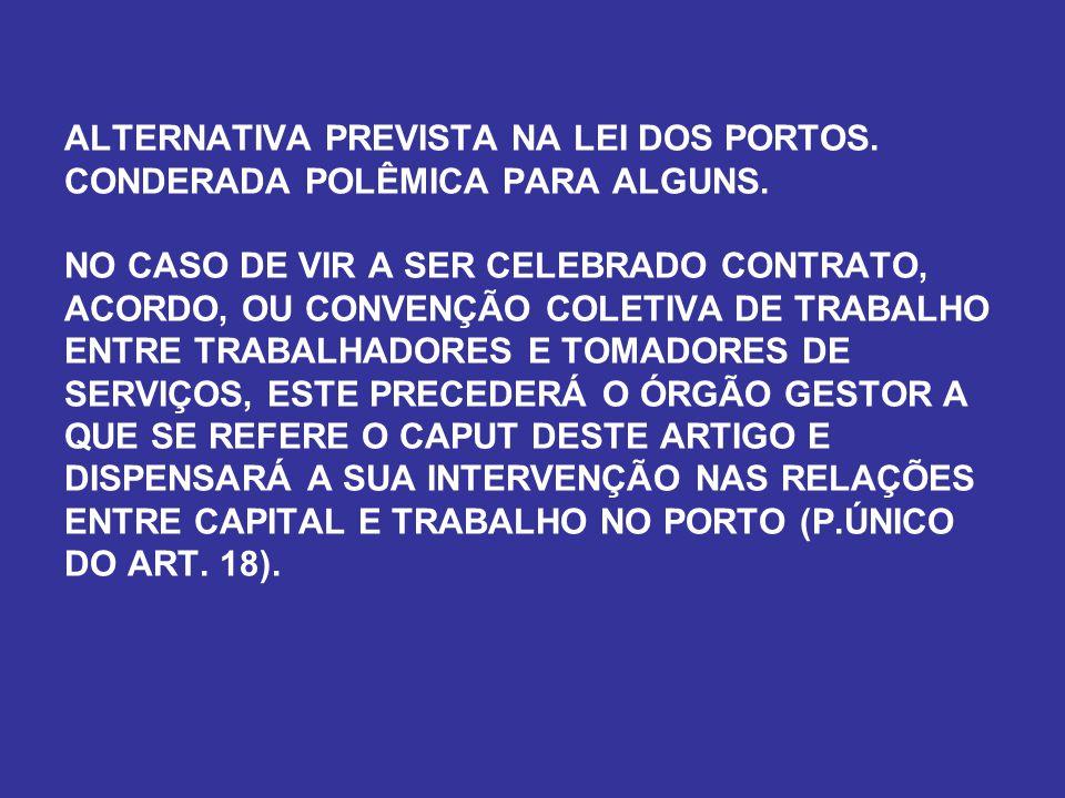 ALTERNATIVA PREVISTA NA LEI DOS PORTOS. CONDERADA POLÊMICA PARA ALGUNS
