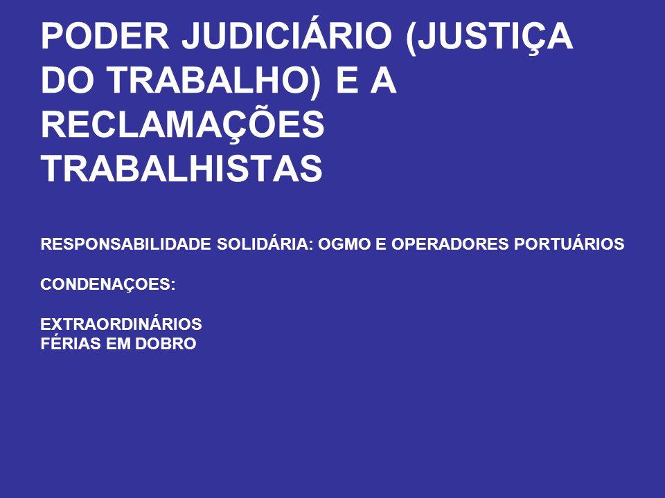 PODER JUDICIÁRIO (JUSTIÇA DO TRABALHO) E A RECLAMAÇÕES TRABALHISTAS RESPONSABILIDADE SOLIDÁRIA: OGMO E OPERADORES PORTUÁRIOS CONDENAÇOES: EXTRAORDINÁRIOS FÉRIAS EM DOBRO