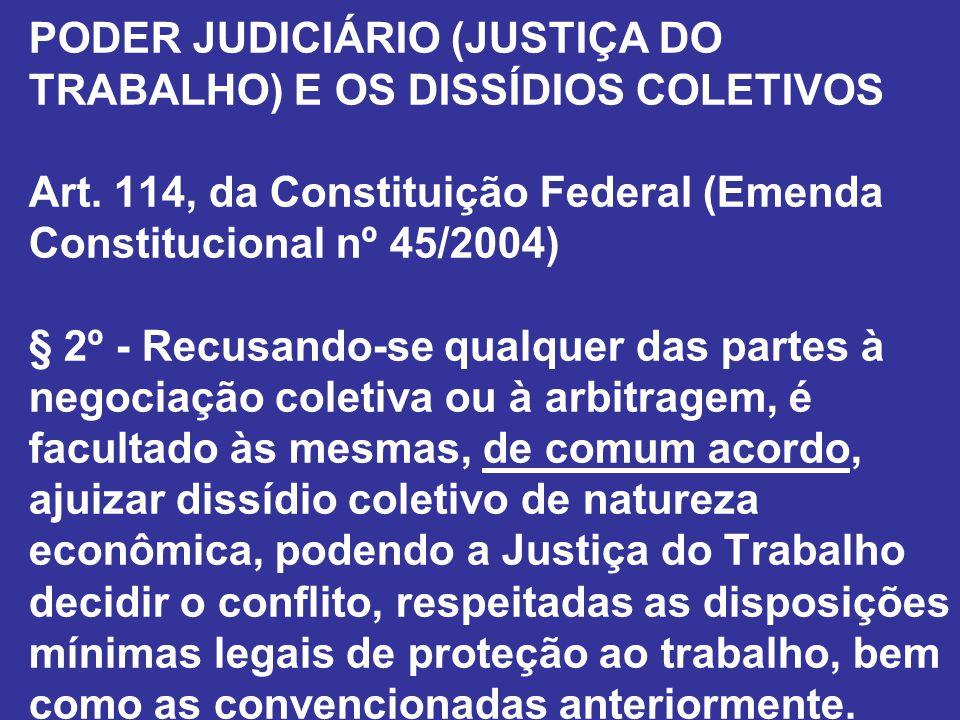 PODER JUDICIÁRIO (JUSTIÇA DO TRABALHO) E OS DISSÍDIOS COLETIVOS Art