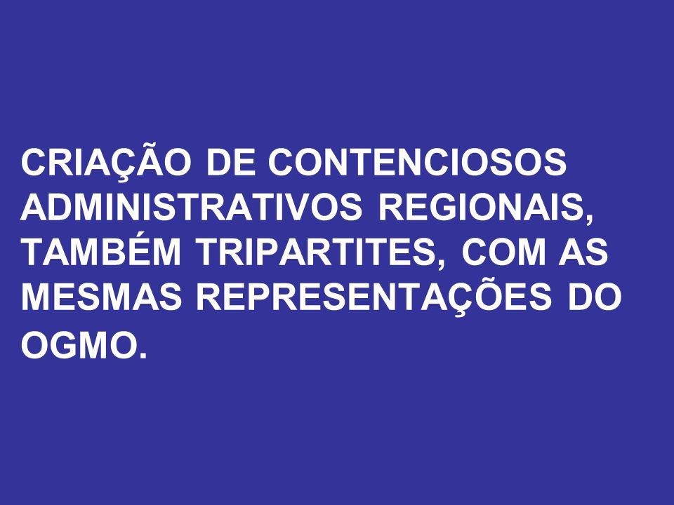CRIAÇÃO DE CONTENCIOSOS ADMINISTRATIVOS REGIONAIS, TAMBÉM TRIPARTITES, COM AS MESMAS REPRESENTAÇÕES DO OGMO.