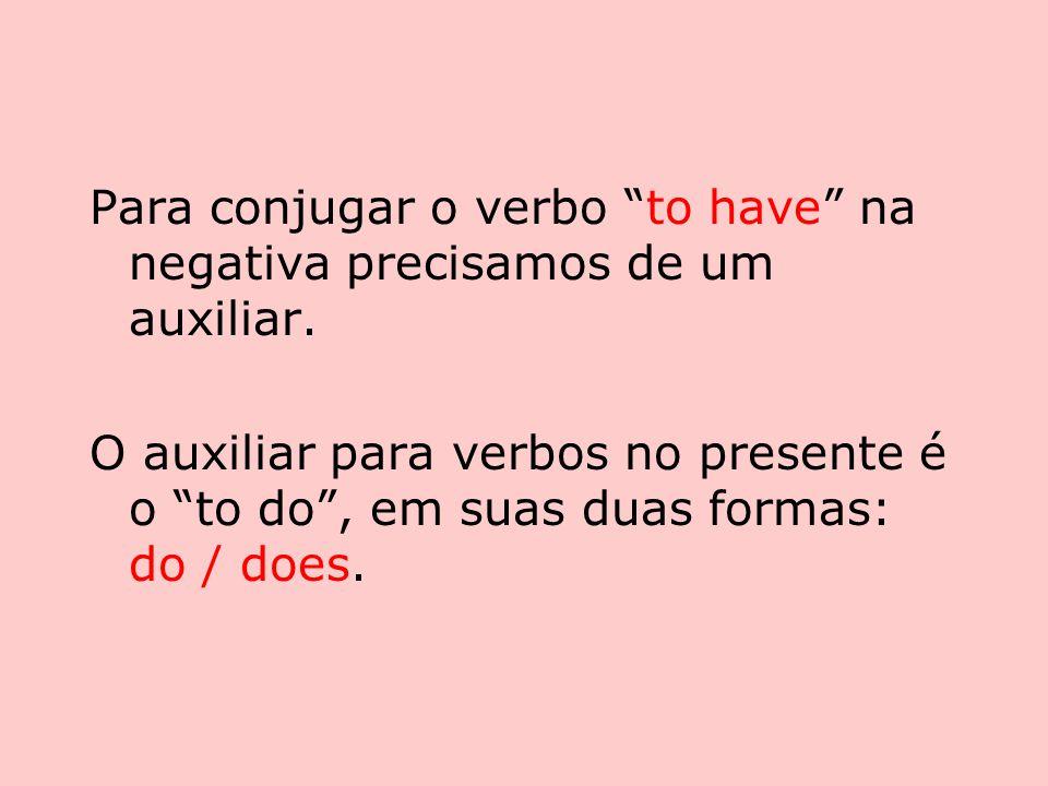 Para conjugar o verbo to have na negativa precisamos de um auxiliar.