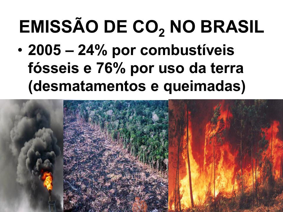 EMISSÃO DE CO2 NO BRASIL 2005 – 24% por combustíveis fósseis e 76% por uso da terra (desmatamentos e queimadas)