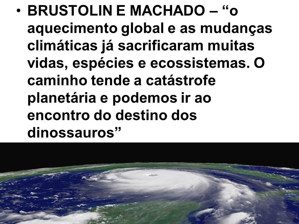 BRUSTOLIN E MACHADO – o aquecimento global e as mudanças climáticas já sacrificaram muitas vidas, espécies e ecossistemas.