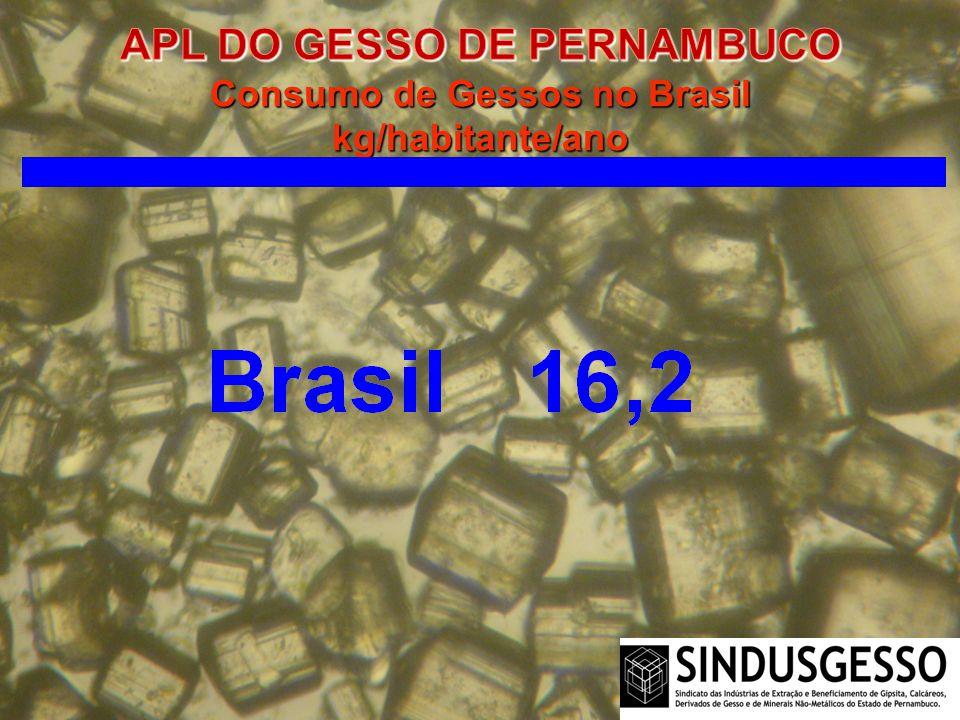APL DO GESSO DE PERNAMBUCO Consumo de Gessos no Brasil kg/habitante/ano