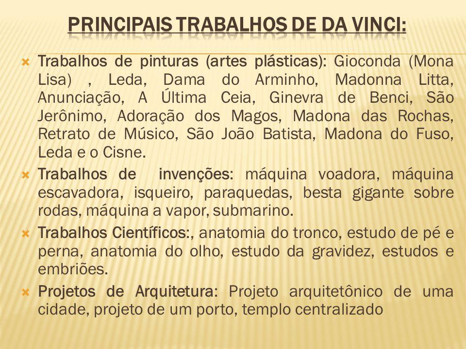 Principais trabalhos de Da Vinci: