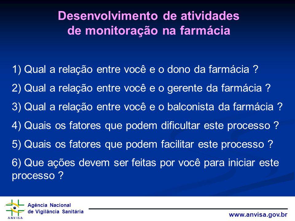 Desenvolvimento de atividades de monitoração na farmácia
