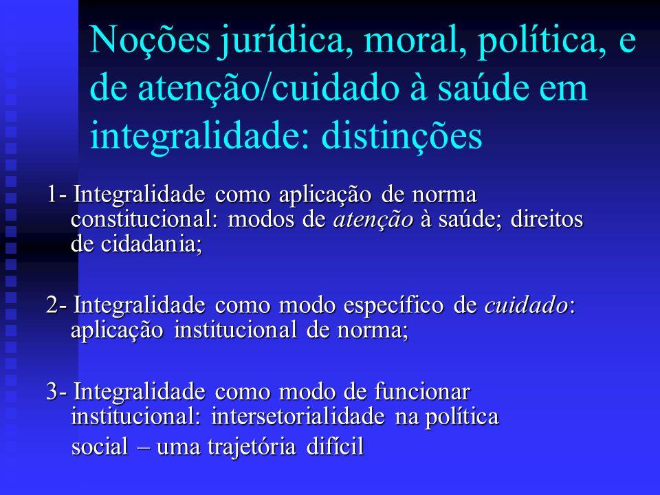 Noções jurídica, moral, política, e de atenção/cuidado à saúde em integralidade: distinções