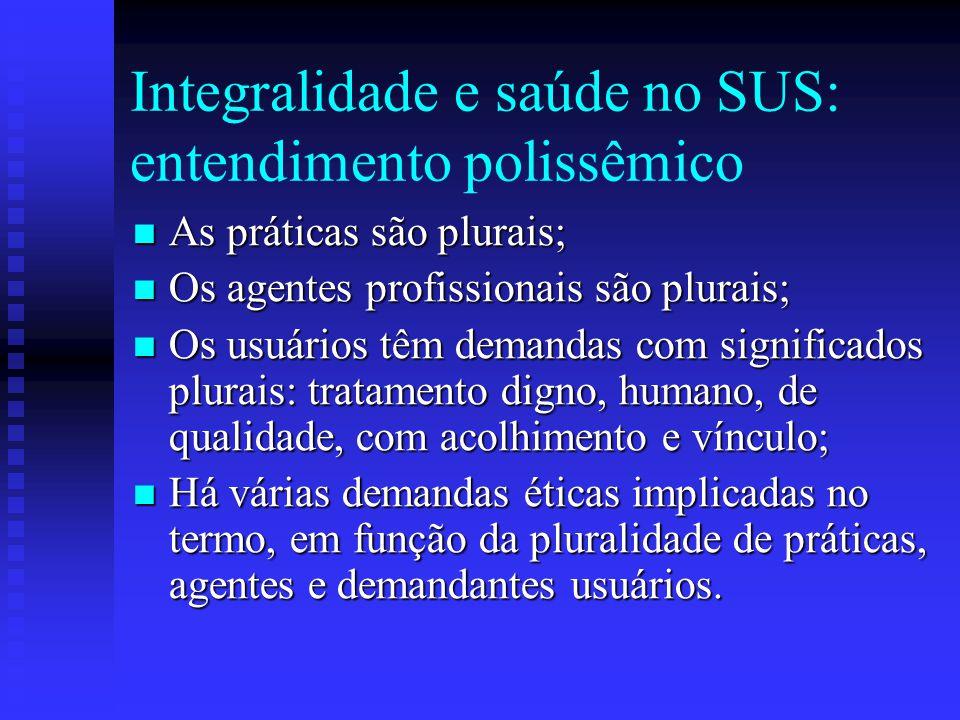 Integralidade e saúde no SUS: entendimento polissêmico