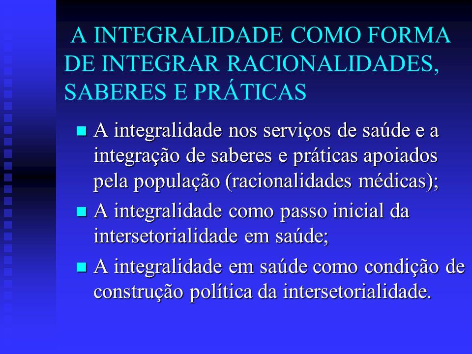 A INTEGRALIDADE COMO FORMA DE INTEGRAR RACIONALIDADES, SABERES E PRÁTICAS