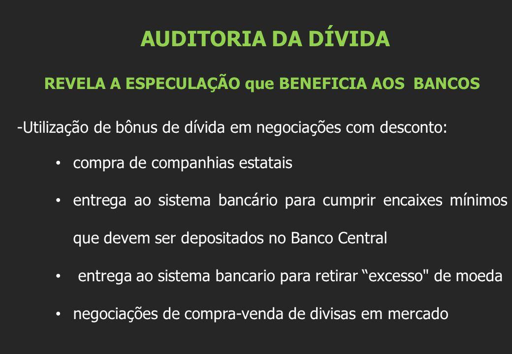 AUDITORIA DA DÍVIDA REVELA A ESPECULAÇÃO que BENEFICIA AOS BANCOS