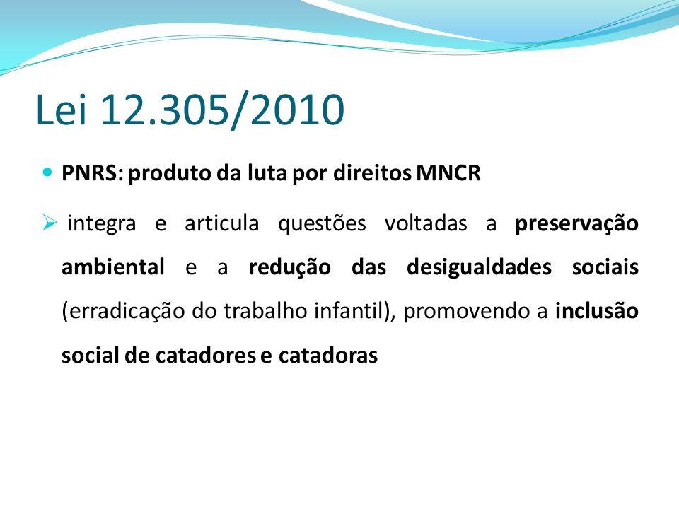 Lei 12.305/2010 PNRS: produto da luta por direitos MNCR