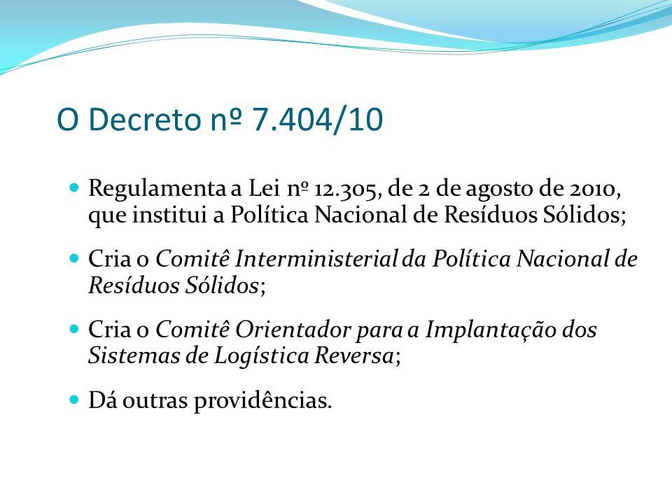 O Decreto nº 7.404/10 Regulamenta a Lei nº 12.305, de 2 de agosto de 2010, que institui a Política Nacional de Resíduos Sólidos;
