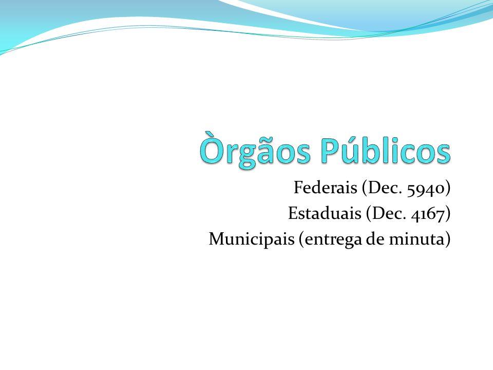 Òrgãos Públicos Federais (Dec. 5940) Estaduais (Dec. 4167)
