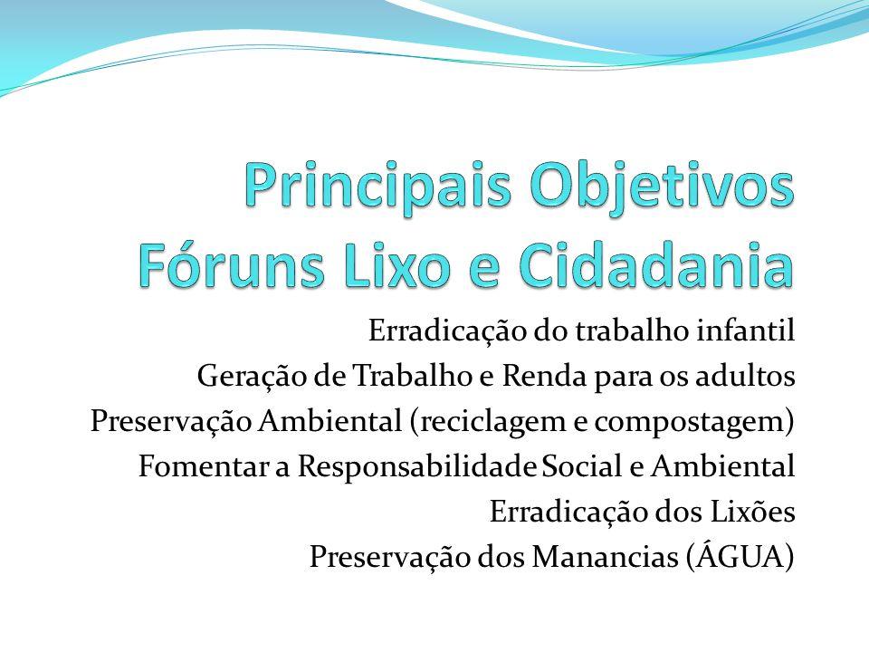Principais Objetivos Fóruns Lixo e Cidadania