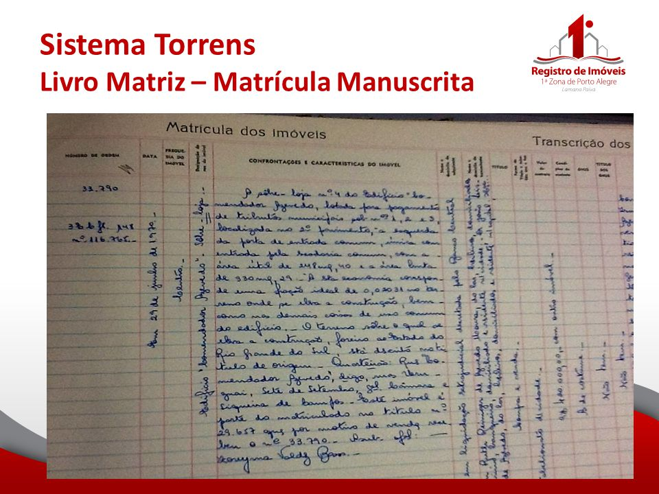 Sistema Torrens Livro Matriz – Matrícula Manuscrita
