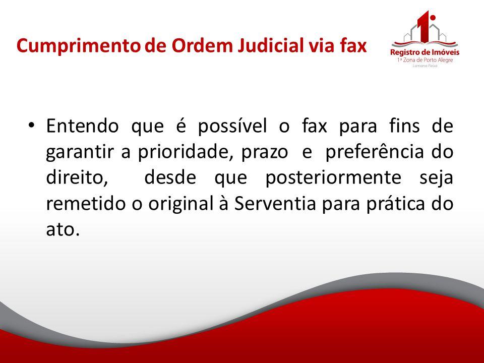 Cumprimento de Ordem Judicial via fax