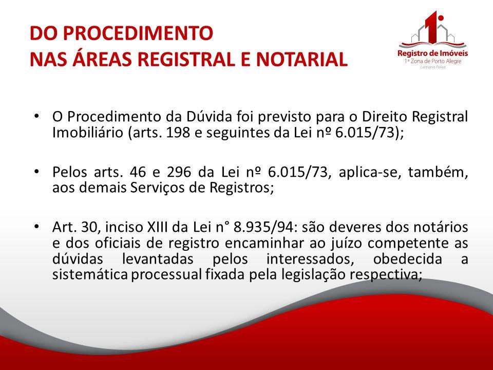 DO PROCEDIMENTO NAS ÁREAS REGISTRAL E NOTARIAL