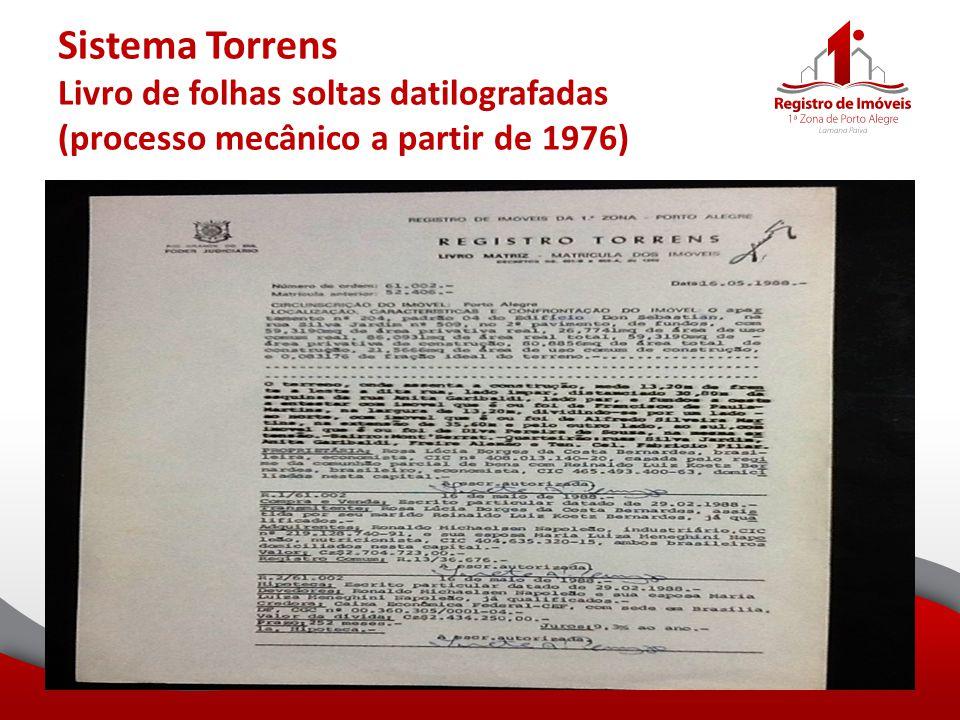 Sistema Torrens Livro de folhas soltas datilografadas (processo mecânico a partir de 1976)