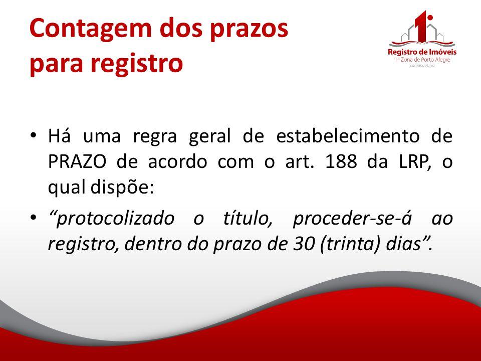 Contagem dos prazos para registro