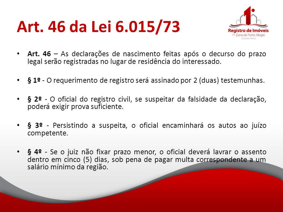 Art. 46 da Lei 6.015/73