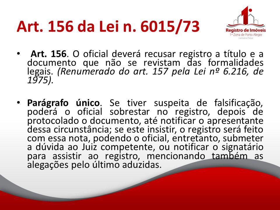 Art. 156 da Lei n. 6015/73