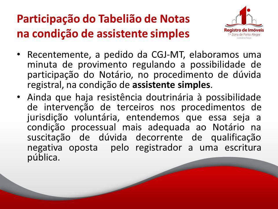 Participação do Tabelião de Notas na condição de assistente simples