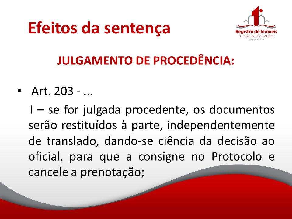 JULGAMENTO DE PROCEDÊNCIA:
