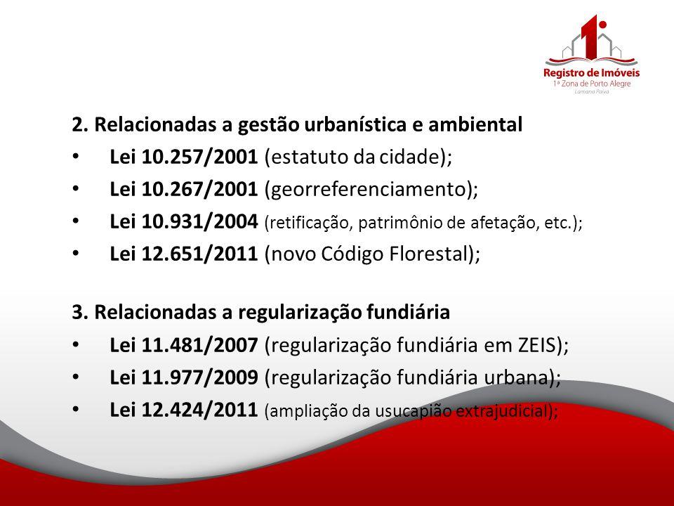 2. Relacionadas a gestão urbanística e ambiental