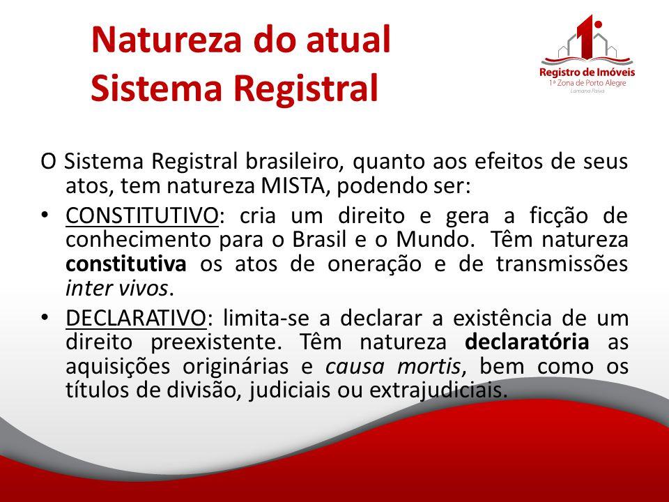 Natureza do atual Sistema Registral