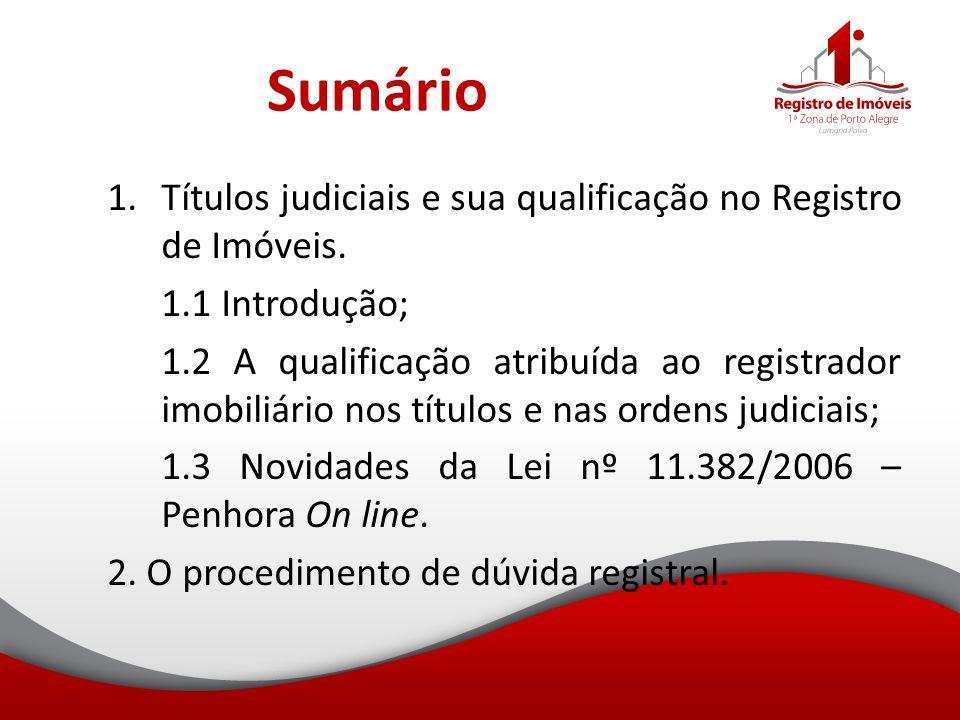 Sumário Títulos judiciais e sua qualificação no Registro de Imóveis.