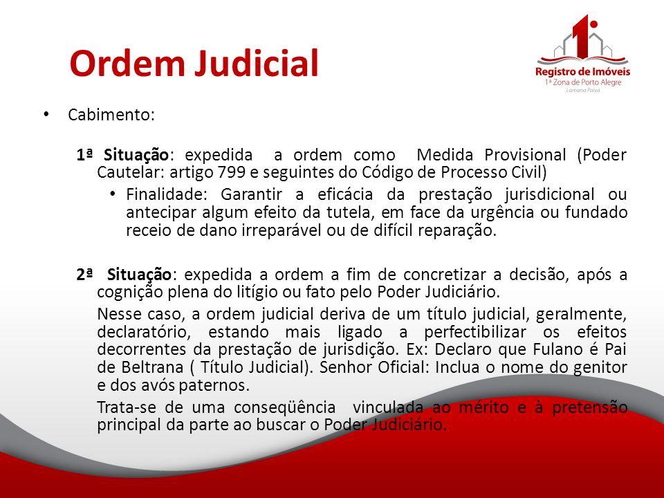 Ordem Judicial Cabimento: