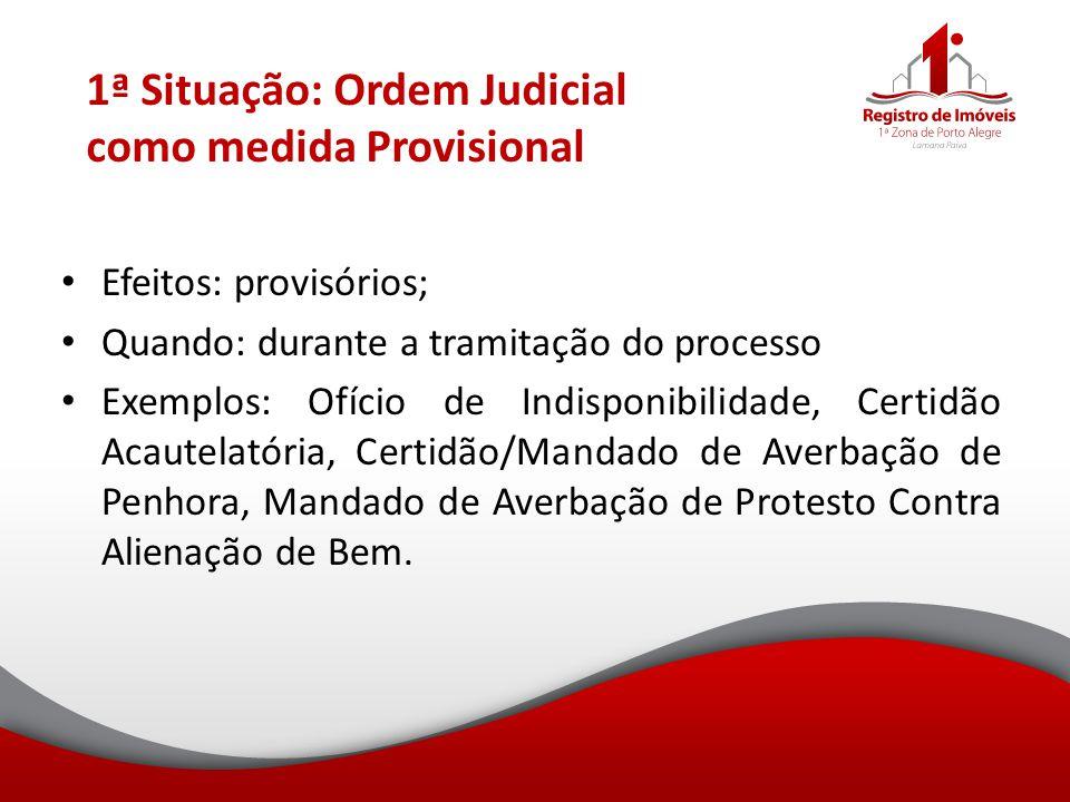 1ª Situação: Ordem Judicial como medida Provisional