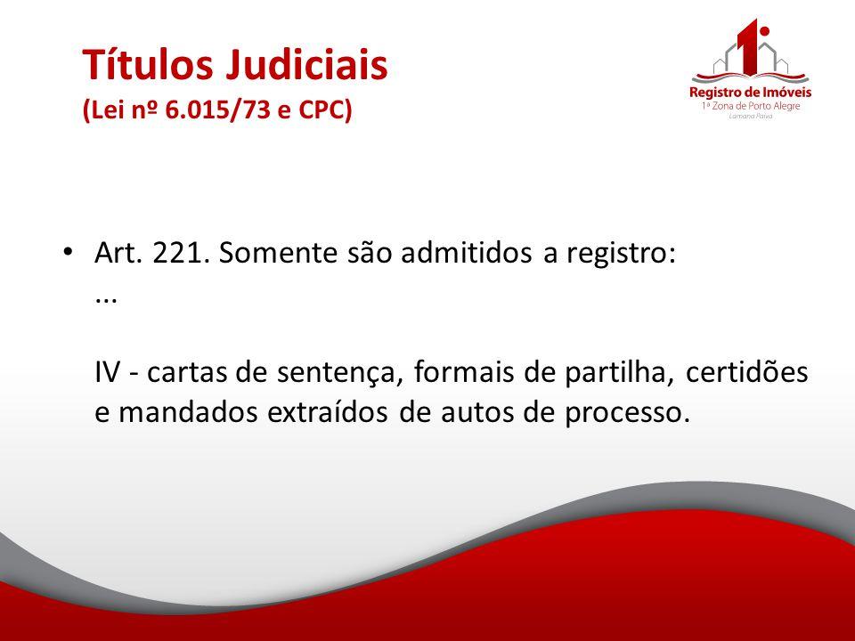 Títulos Judiciais (Lei nº 6.015/73 e CPC)