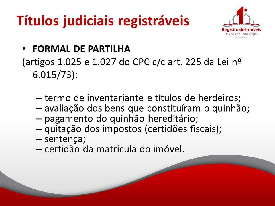 Títulos judiciais registráveis