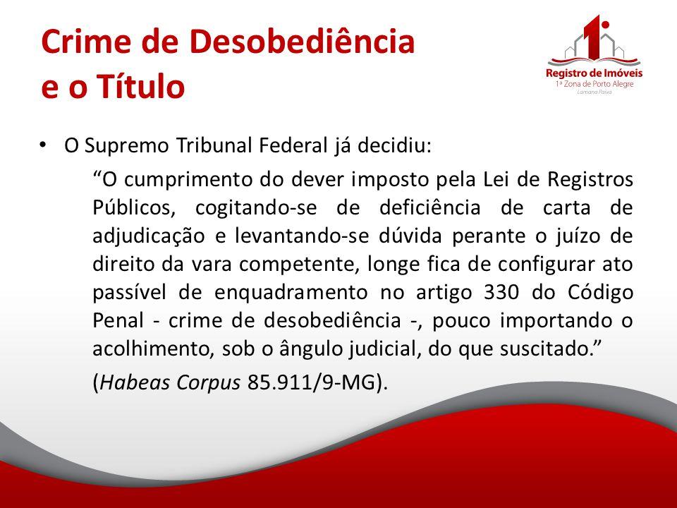 Crime de Desobediência e o Título