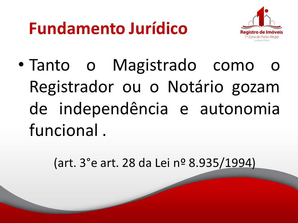 Fundamento Jurídico Tanto o Magistrado como o Registrador ou o Notário gozam de independência e autonomia funcional .