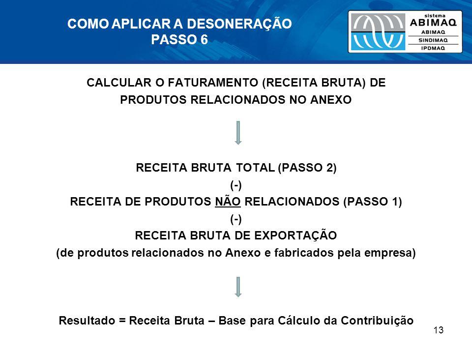 COMO APLICAR A DESONERAÇÃO PASSO 6