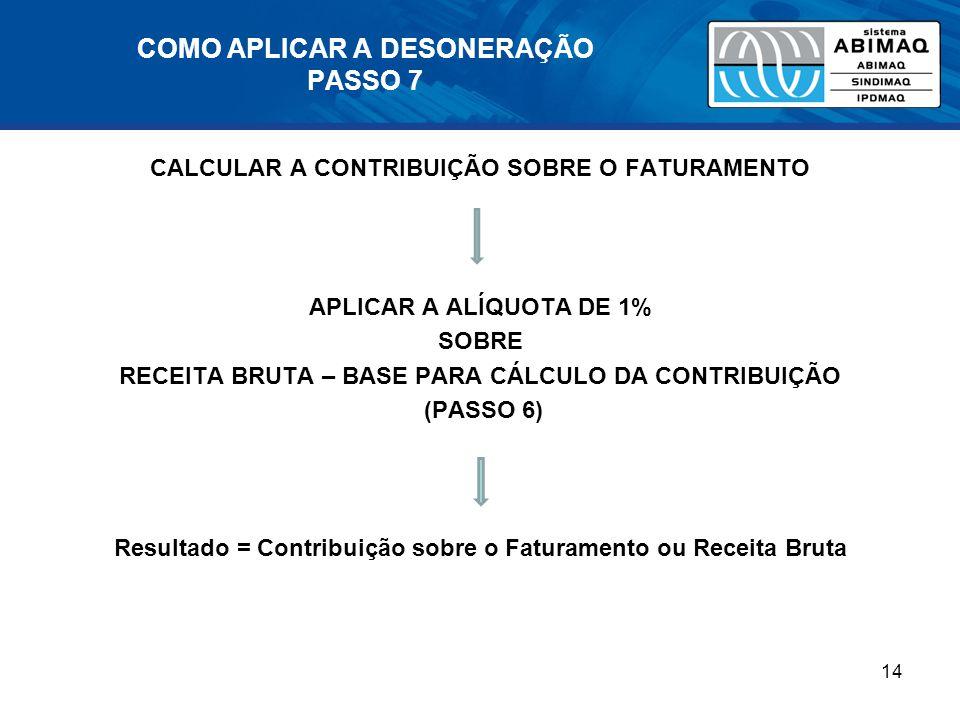 COMO APLICAR A DESONERAÇÃO PASSO 7