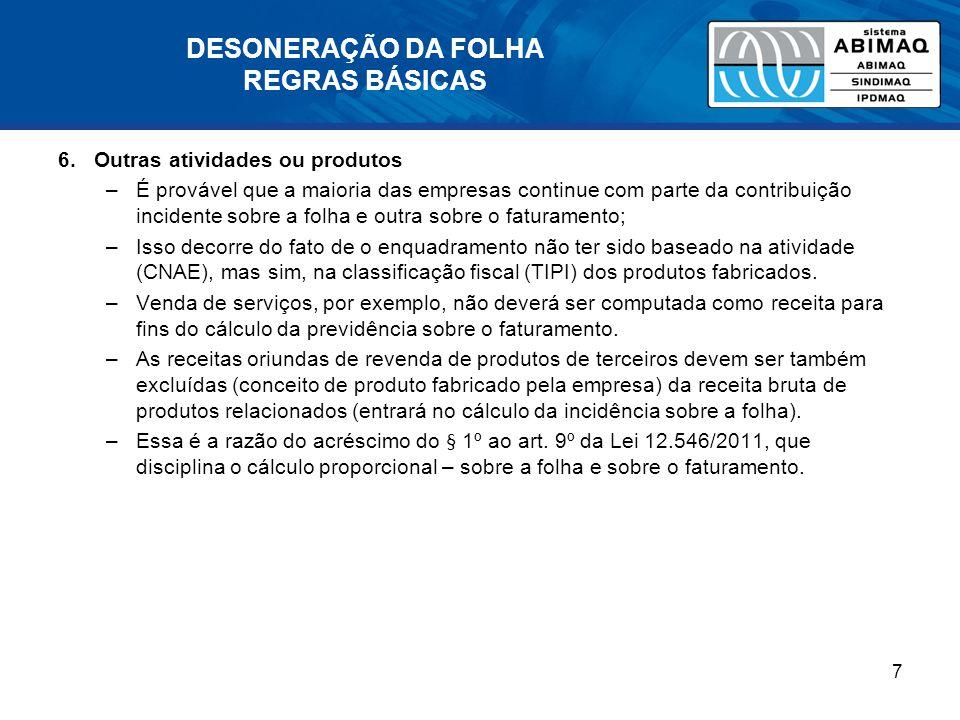 DESONERAÇÃO DA FOLHA REGRAS BÁSICAS