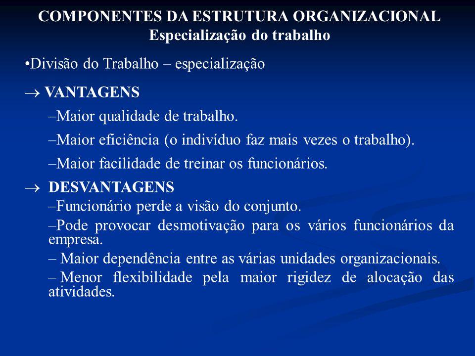 COMPONENTES DA ESTRUTURA ORGANIZACIONAL Especialização do trabalho