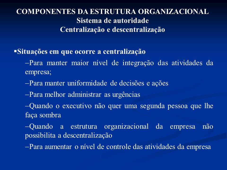 COMPONENTES DA ESTRUTURA ORGANIZACIONAL Sistema de autoridade