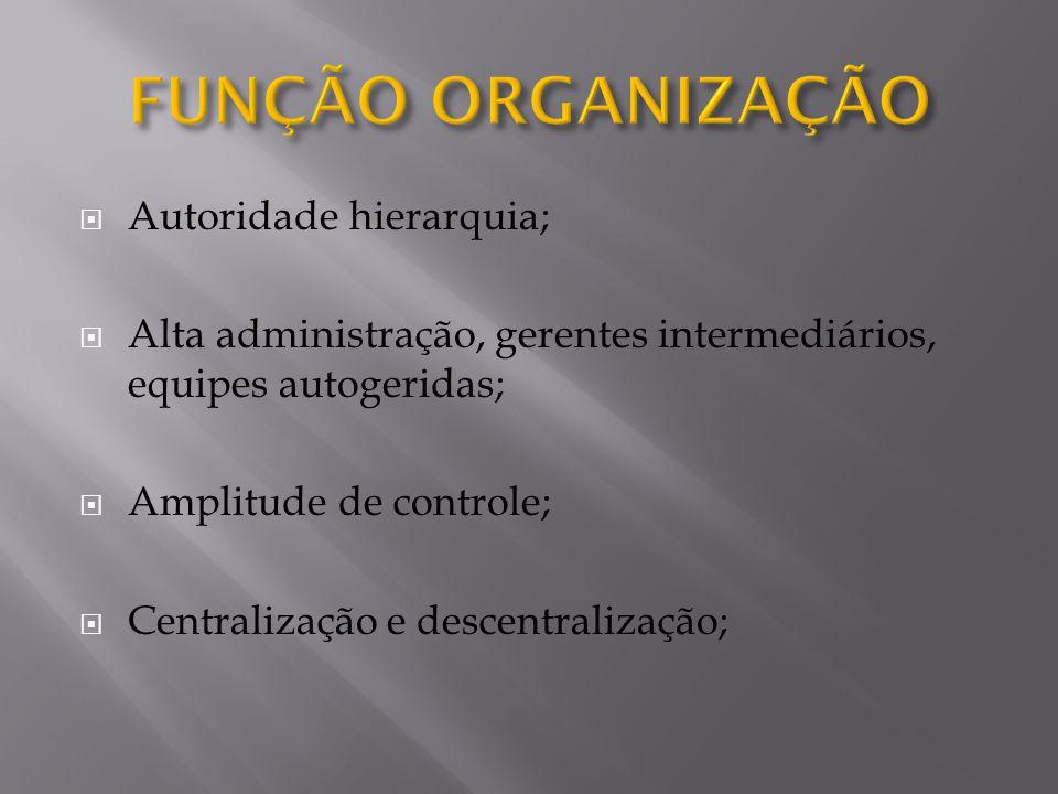 FUNÇÃO ORGANIZAÇÃO Autoridade hierarquia;