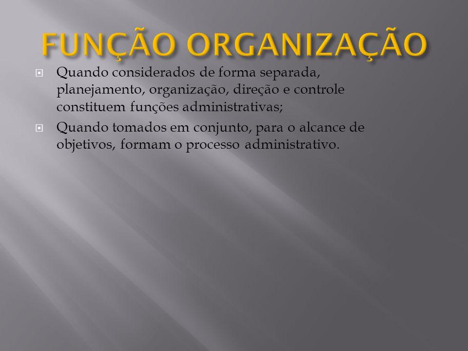 FUNÇÃO ORGANIZAÇÃO Quando considerados de forma separada, planejamento, organização, direção e controle constituem funções administrativas;
