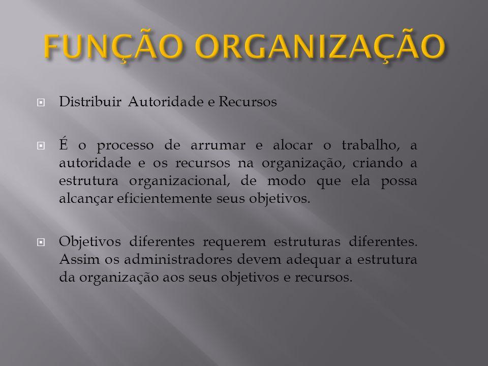 FUNÇÃO ORGANIZAÇÃO Distribuir Autoridade e Recursos