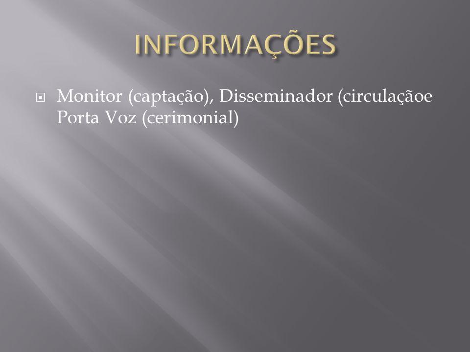 INFORMAÇÕES Monitor (captação), Disseminador (circulaçãoe Porta Voz (cerimonial)