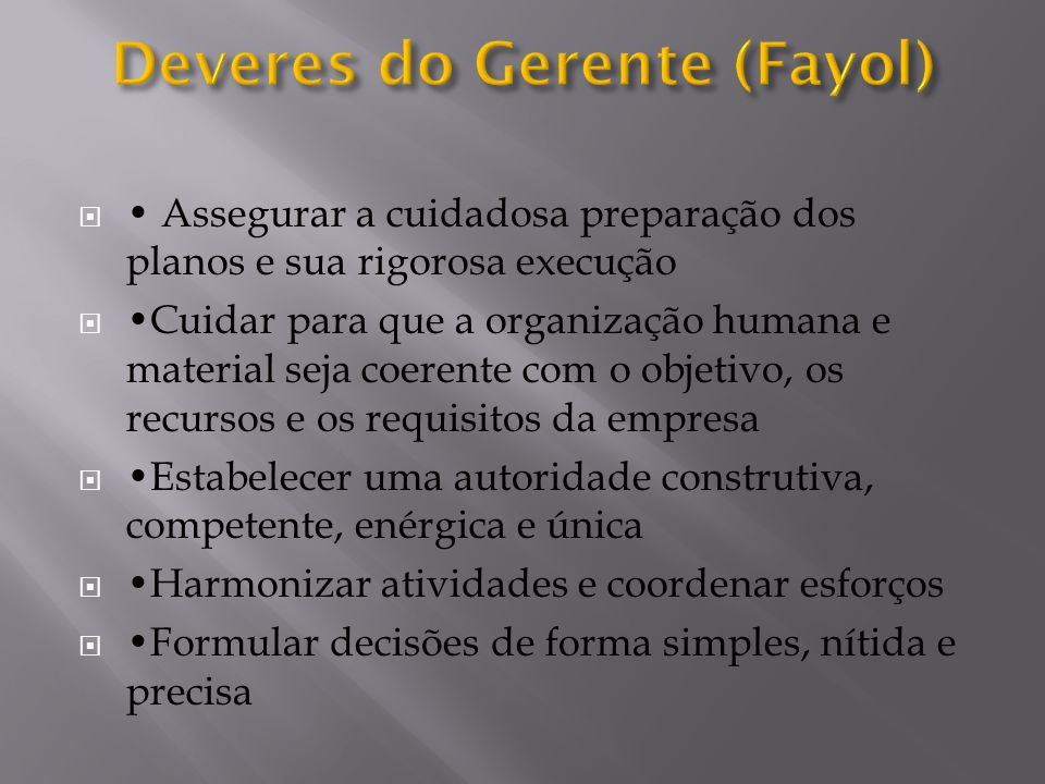 Deveres do Gerente (Fayol)