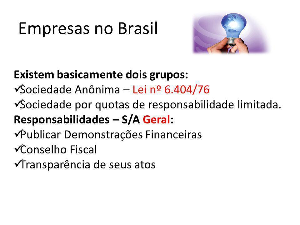 Empresas no Brasil Existem basicamente dois grupos:
